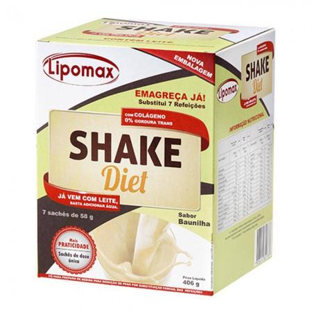 Lipomax Shake Diet Sabor Baunilha C/ 7 Sachês De 58g Cada